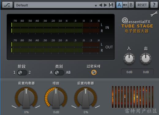 """以下是参数介绍: IN /OUT 入/出:您可以在此设置输入和输出电平。 stages阶段:在设置1中,信号仅通过一个电子管。 在设置2中,两个电子管放大器级联。 这样做可以分散增益,使得插件不会产生硬件过热导致的声音、增加了信号的复杂性。 class类别A / AB:通过这一参数可选择不对称参考线的简单放大器(A类)或对称的AB模式。 在A型奇偶谐波出现时,声音类似于""""温暖""""的电子管吉他放大器。 在AB部分,只产生不均匀的谐波。声音有点""""冷"""",但复杂素材将"""